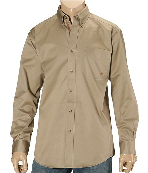 Ariat - Solid Twill Shirt (Khaki) Men's Long Sleeve Button Up
