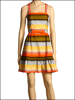 French Connection - Broadwalk Stripe Dress (Gold Crush/Linen) - Apparel