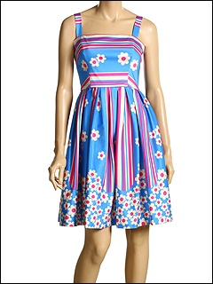 Betsey Johnson - Fleur De Lyes Tank Dress (Azure) - Apparel