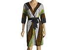 BCBG Max Azria - Kimono Sleeve Woodblock Print Dress (Bright Celedon) - Apparel