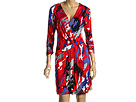 BCBG Max Azria - Long Sleeved Matte Jersey Print Dress (Poppy) - Apparel