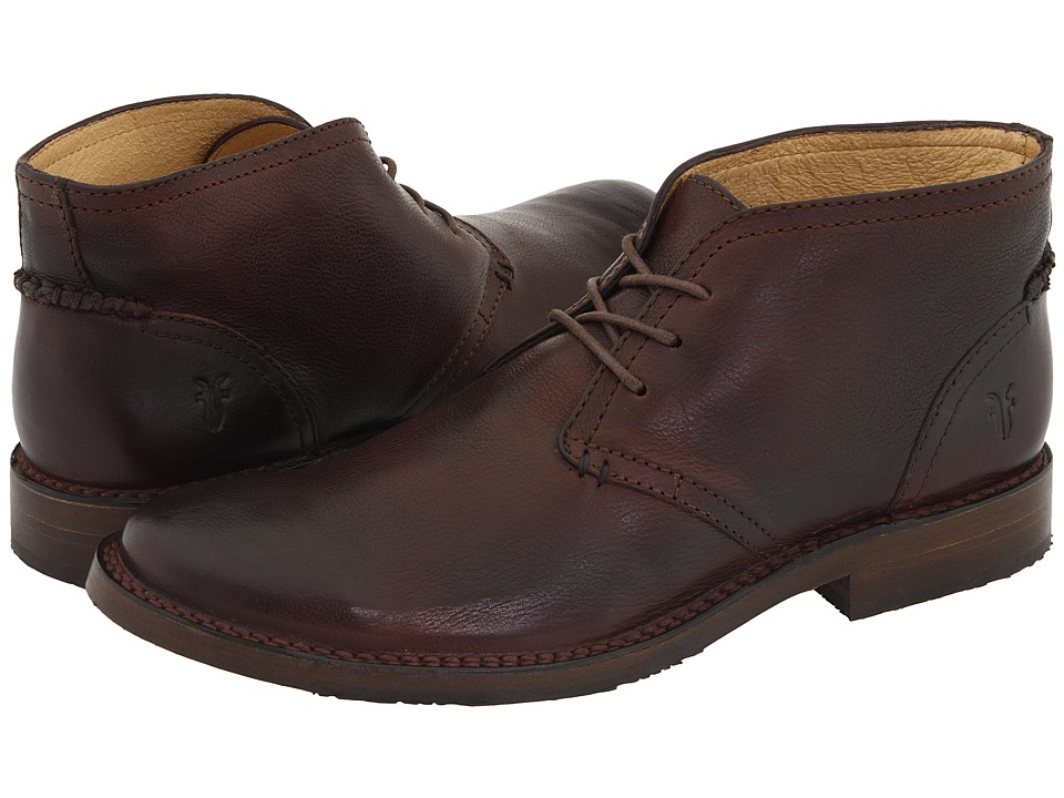 Frye - Oliver Chukka (Dark Brown Full Grain Leather) Men's Lace up casual Shoes
