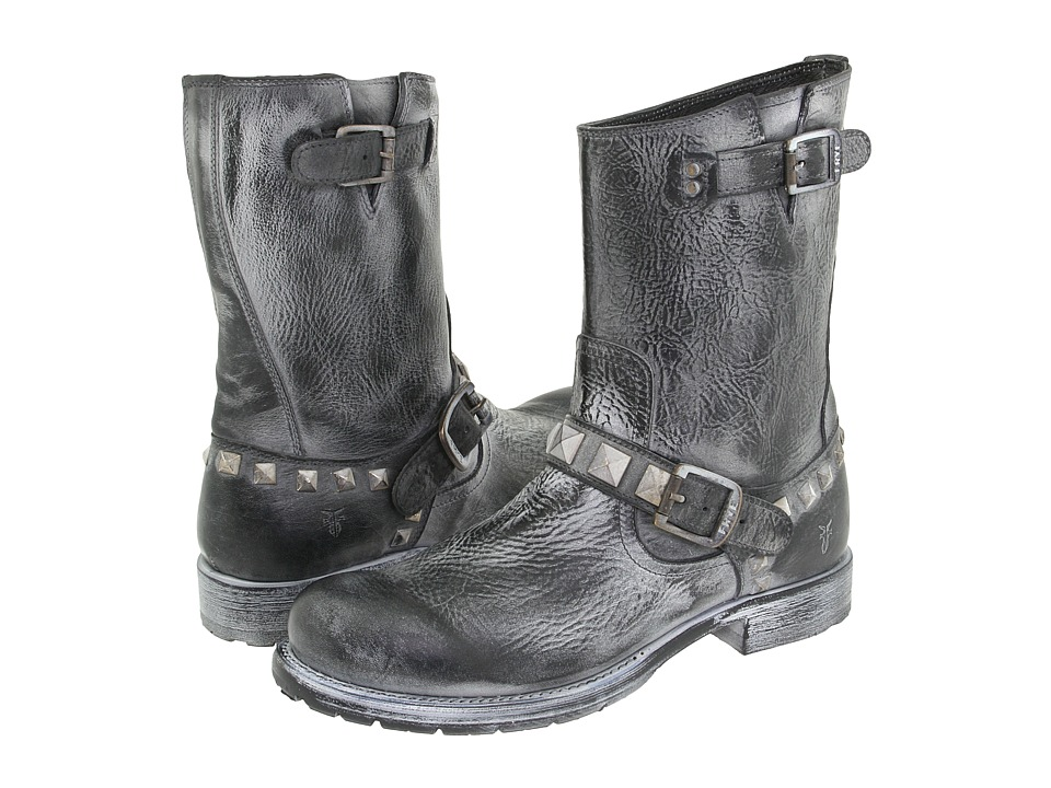 Frye - Rogan Stud Engineer (Black) Men's Pull-on Boots