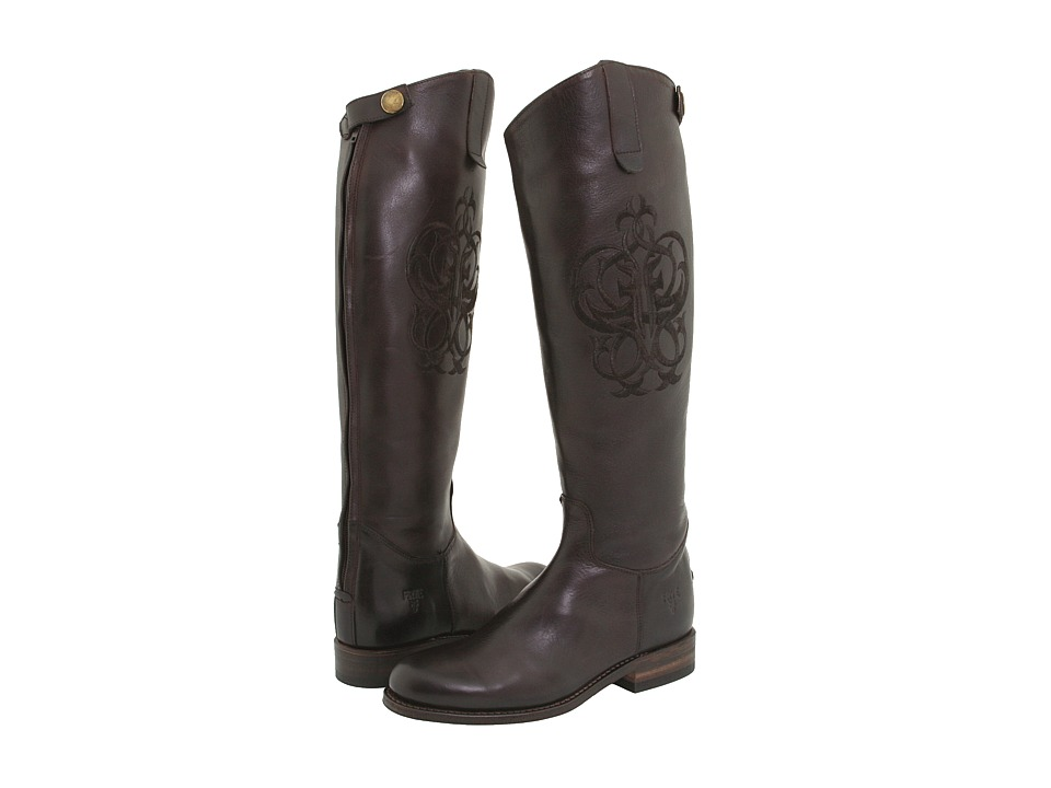 Frye Riding Back Zip (Dark Brown Leather) Women