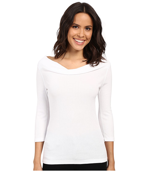 Three Dots - 1x1 Cotton Modal 3/4 Sleeve Cowl Neck (White) Women