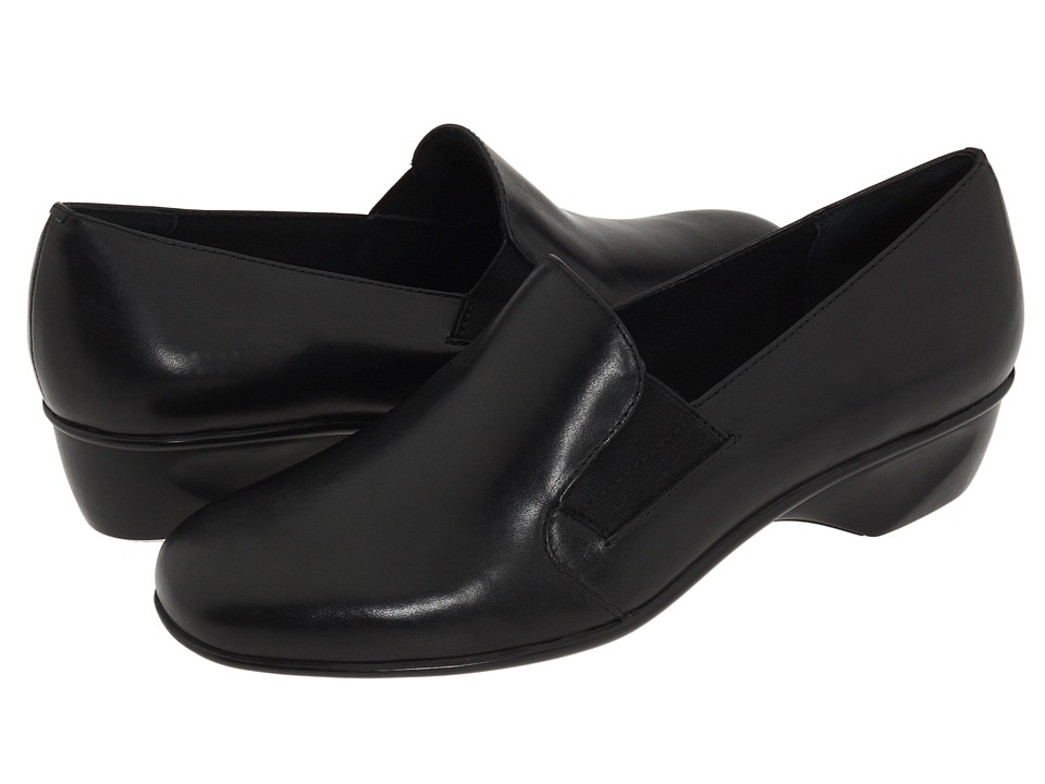 Walking Cradles - Teri (Black Leather) Women's Slip on Shoes