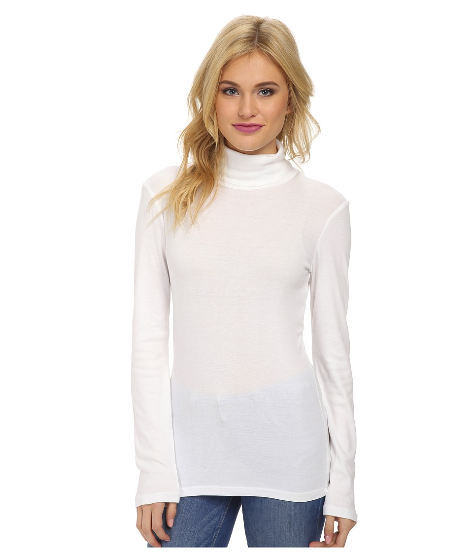 Splendid - 1x1 Long Sleeve Turtleneck (White) Women's Long Sleeve Pullover