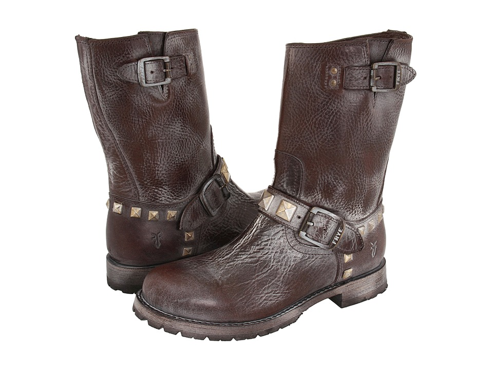 Frye Rogan Engineer Studded (Dark Brown) Cowboy Boots