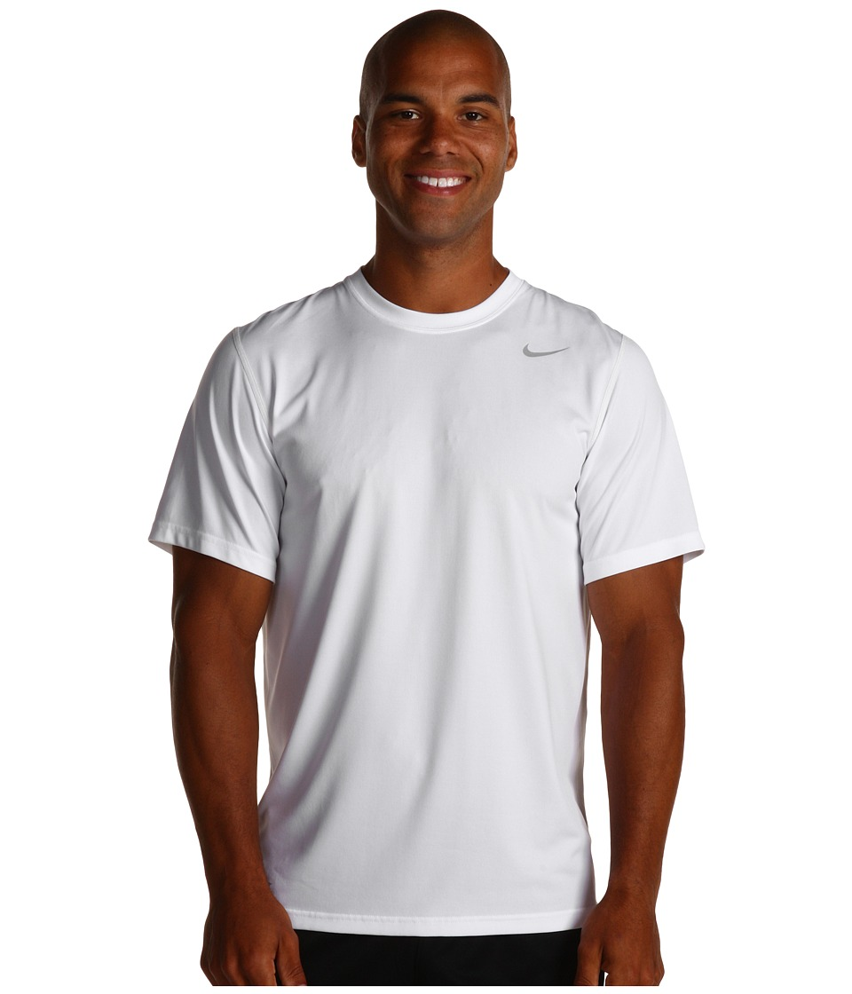 Nike - Legend Dri-FIT Poly S/S Crew Top (White) Men's Short Sleeve Pullover