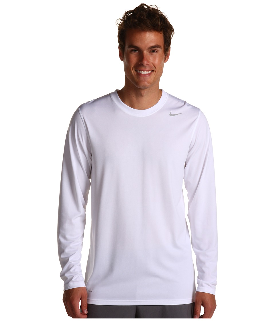 Nike - Legend Dri-FIT Poly L/S Crew Top (White) Men's Workout