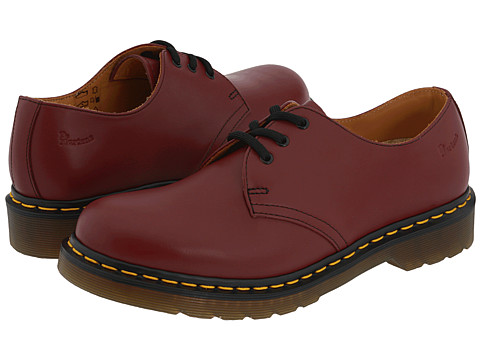 Dr. Martens - 1461 3-Eye Gibson (Cherry Red Smooth) Lace up casual Shoes