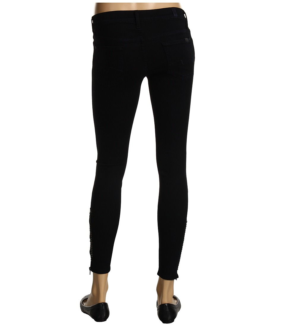 7 For All Mankind - Crop Gwenevere w/ Crystal Stud Zip in Dark Rustic Canyon (Dark Rustic Canyon) Women's Jeans