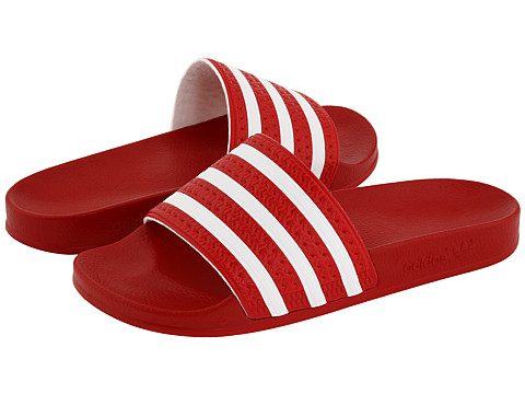 adidas - adilette (Light Scarlet/White) Shoes
