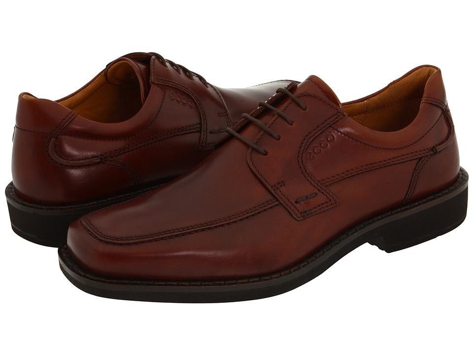 ECCO - Seattle Apron Toe Tie (Cognac Smooth Full-Grain Leather) Men's Lace Up Moc Toe Shoes