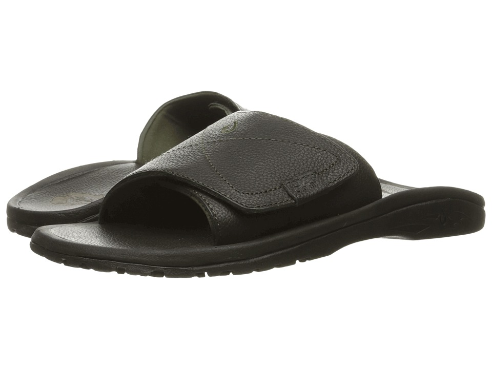 OluKai Ohana Leather Slide (Black/Black) Men