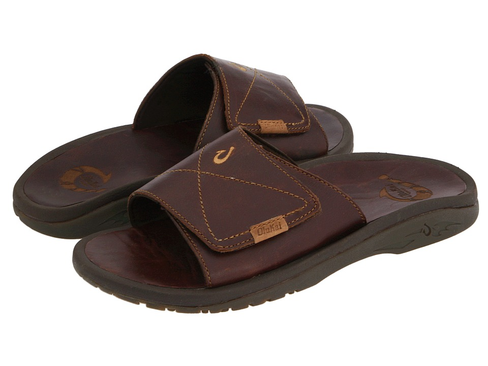 OluKai Ohana Leather Slide (Dark Java/Dark Java) Men
