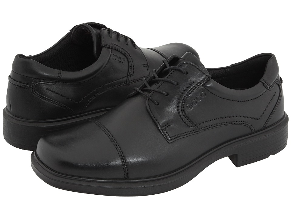 ECCO - Helsinki Cap Toe Tie (Black Full-Grain Leather) Men