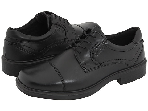 ECCO - Helsinki Cap Toe Tie (Black Full-Grain Leather) Men's Lace Up Cap Toe Shoes