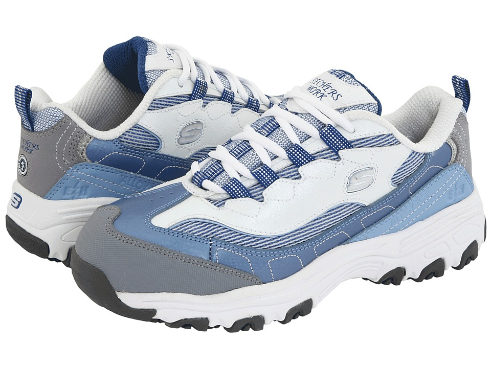 SKECHERS Work - D'Lite S R - Safety Toe (Light Blue/White) Women's Industrial Shoes