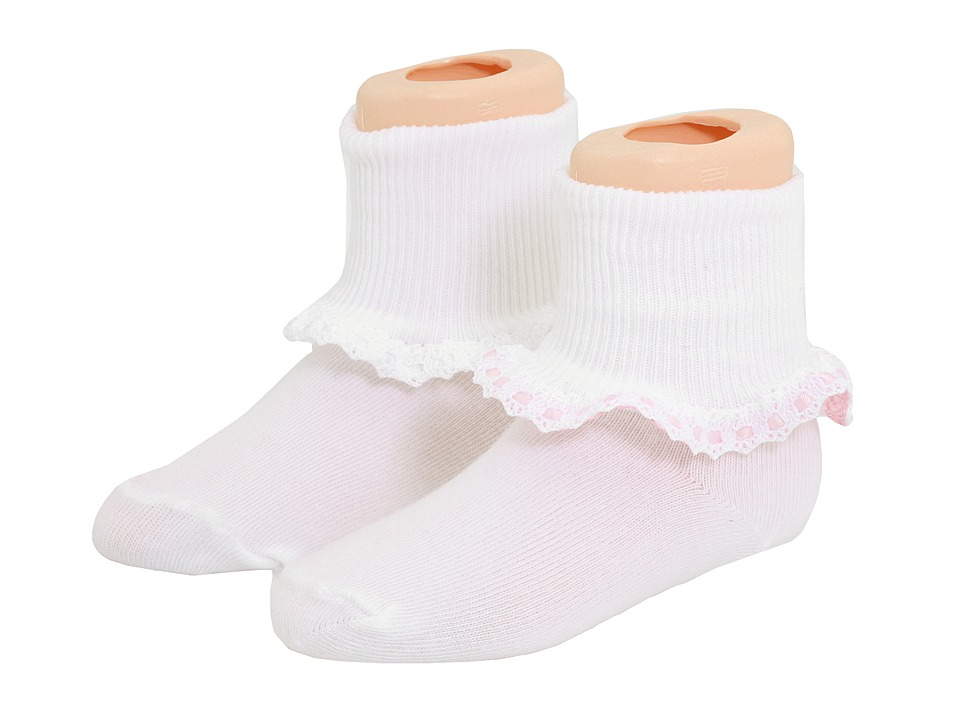 Jefferies Socks - 6-Pack Cluny Satin (Toddler/Little Kid) (White/Pink) Girls Shoes