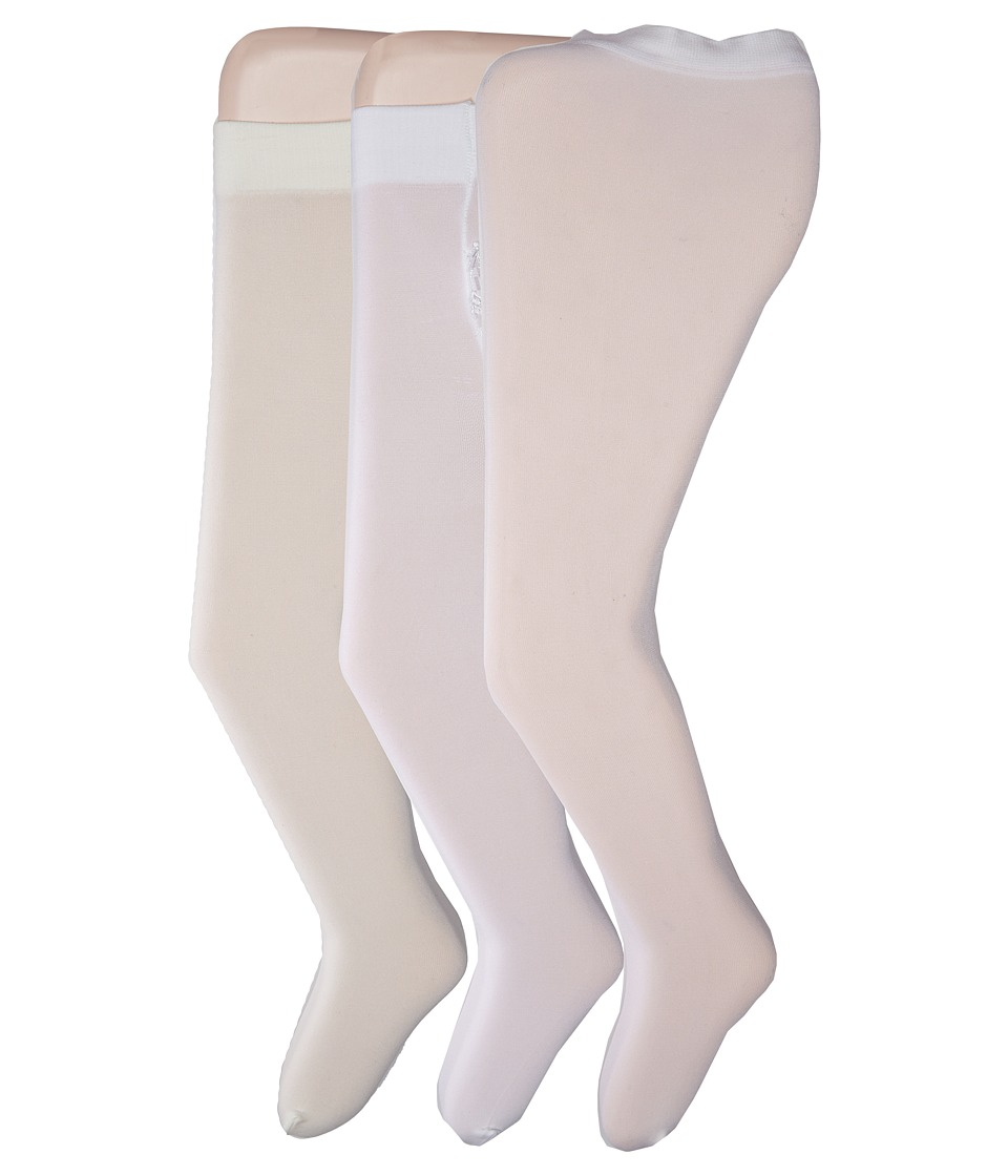 Jefferies Socks - 3-Pack Microfiber Rhumba Ruffle Bottom Tight (Infant) (White/Pearl Cream/White Micro) Hose