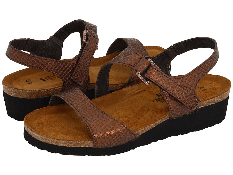 Naot Footwear - Pamela (Brown Lizard Leather) Women's Sandals