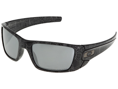 Oakley - Fuel Cell Polarized (Black/Grey History Text/Black Iridium Polarized) Sport Sunglasses