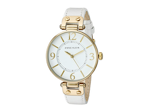 Anne Klein - 109168WTWT Round Dial Leather Strap Watch (White) Analog Watches