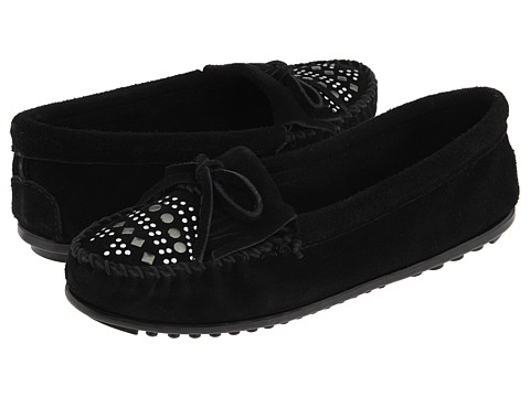 Minnetonka - Suede Studded Moc (Black Suede) Women's Slippers