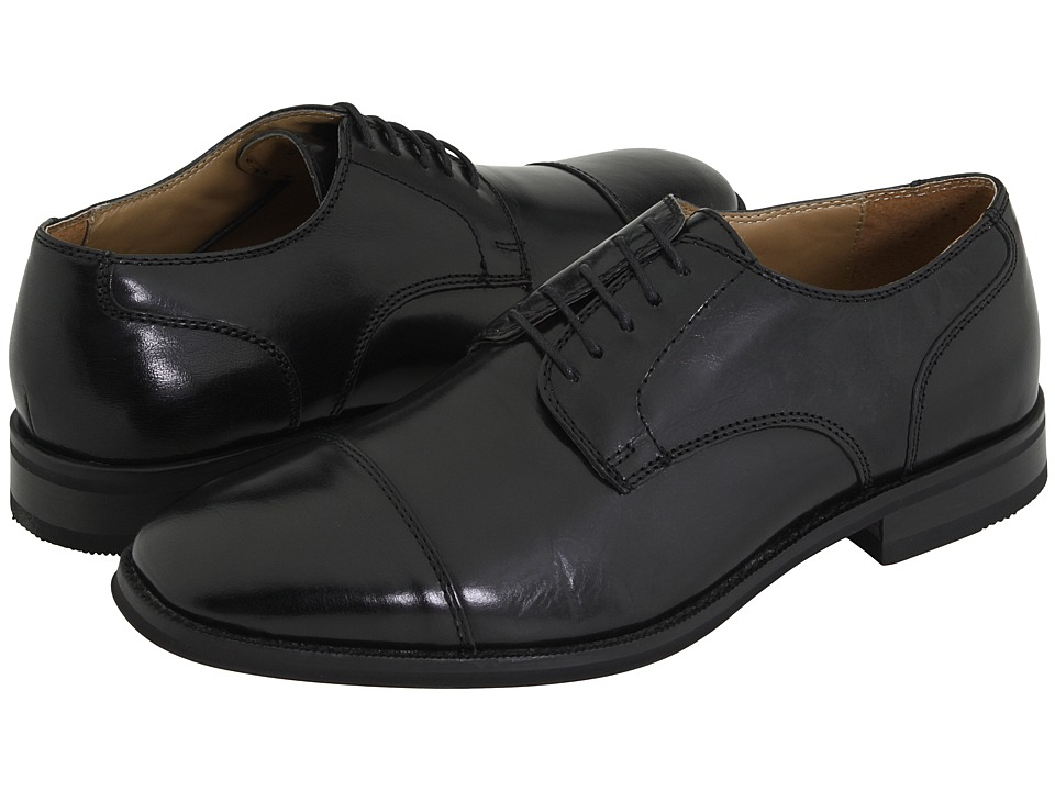 Bass - Atlanta Cap Toe Oxford (Black Polished Leather) Men