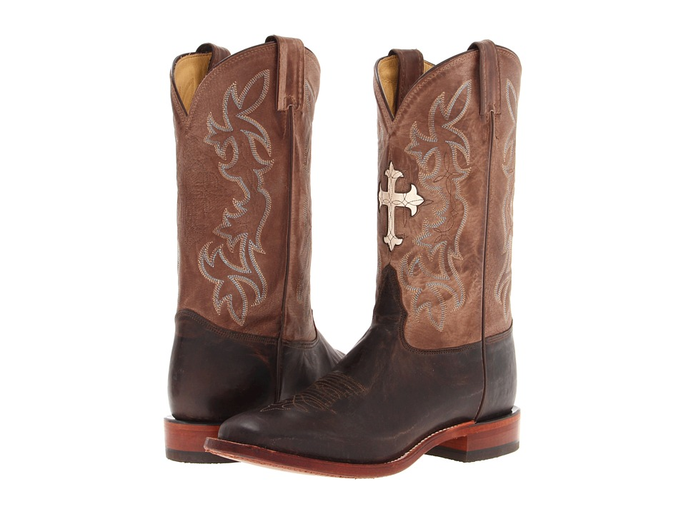 Tony Lama - San Saba Collection (Chocolate/Tan Tuscan) Cowboy Boots