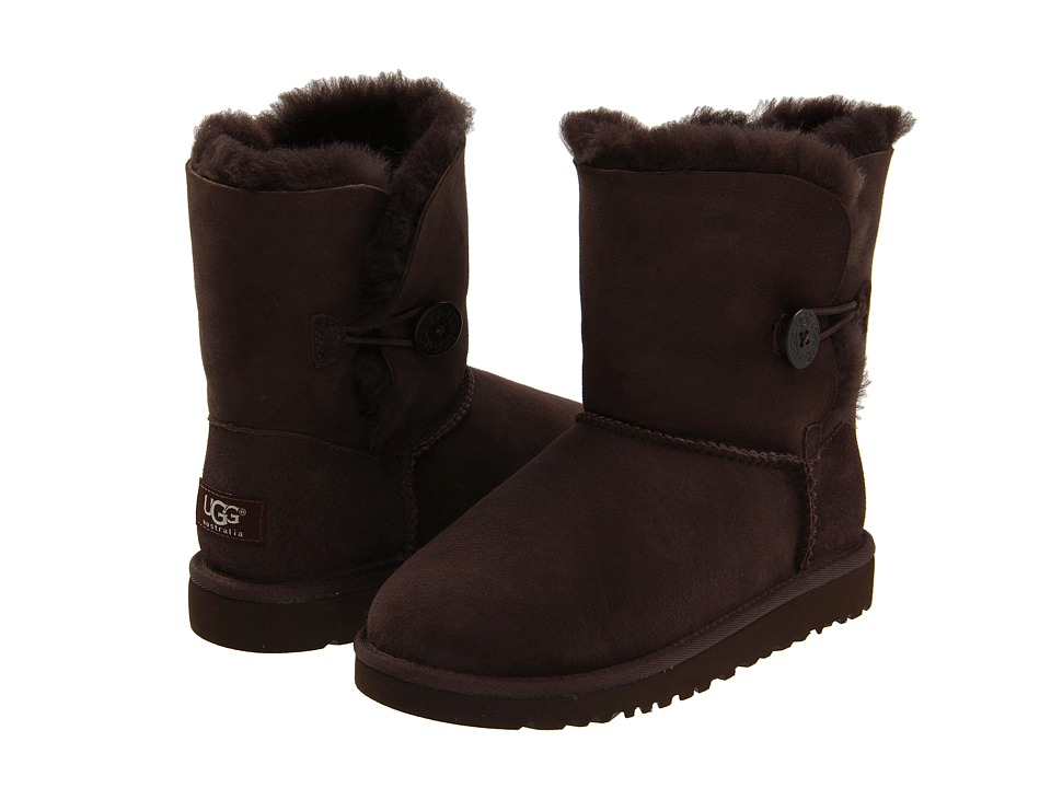 UGG Kids - Bailey Button (Little Kid/Big Kid) (Chocolate) Girls Shoes