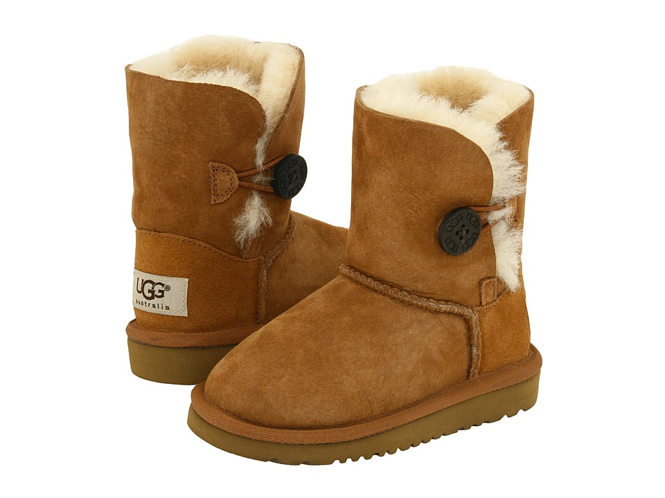 UGG Kids - Bailey Button (Toddler/Little Kid) (Chestnut) Girls Shoes