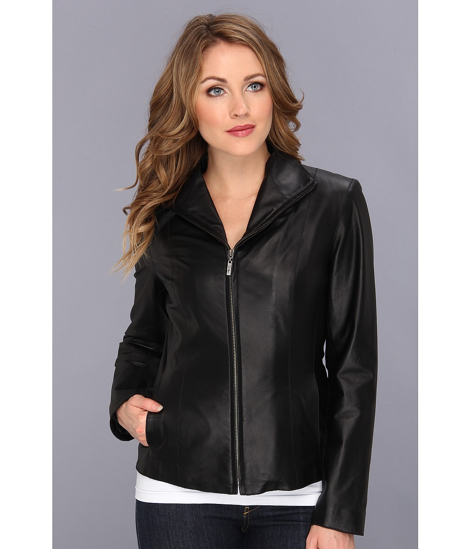 Cole Haan - Lamb Leather Zip Front Jacket (Black) Women's Jacket