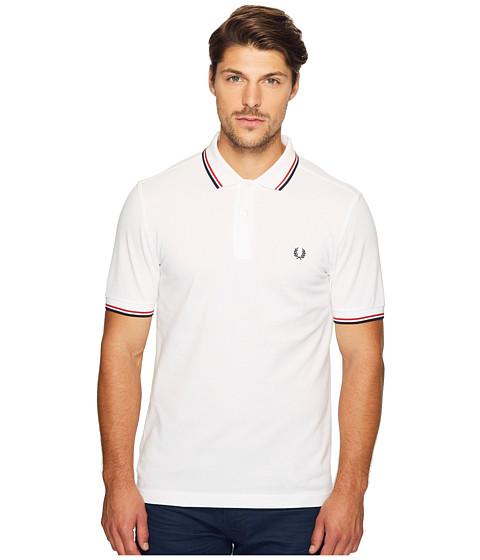 Fred Perry - Slim Fit Twin Tipped Fred Perry Polo (White/Bright Red/Navy) Men