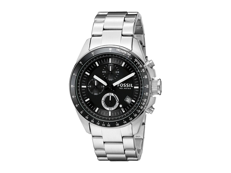 Fossil - CH2600 Decker Chronograph Stainless Steel Watch (Black/Silver) Watches