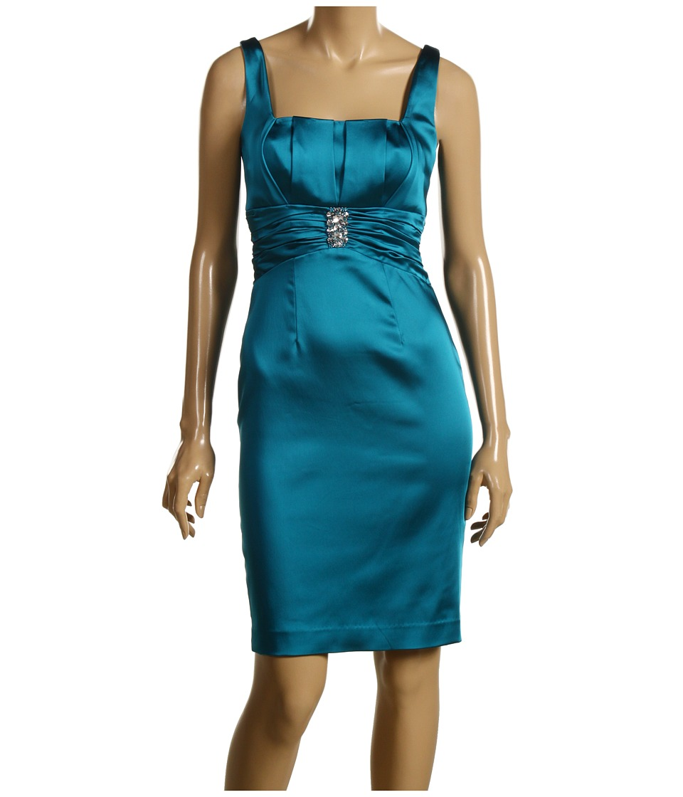 Calvin Klein - Satin Square Neck Cocktail Dress (Aegean) Women's Dress