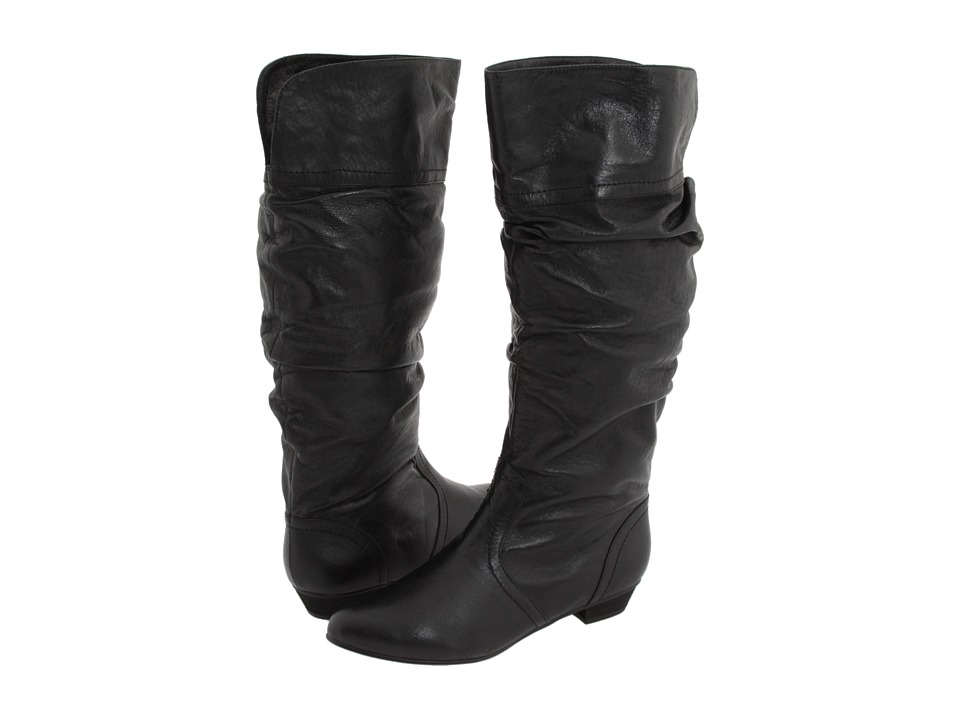 Steve Madden Candence Black Leather Womens Pull-on Boots