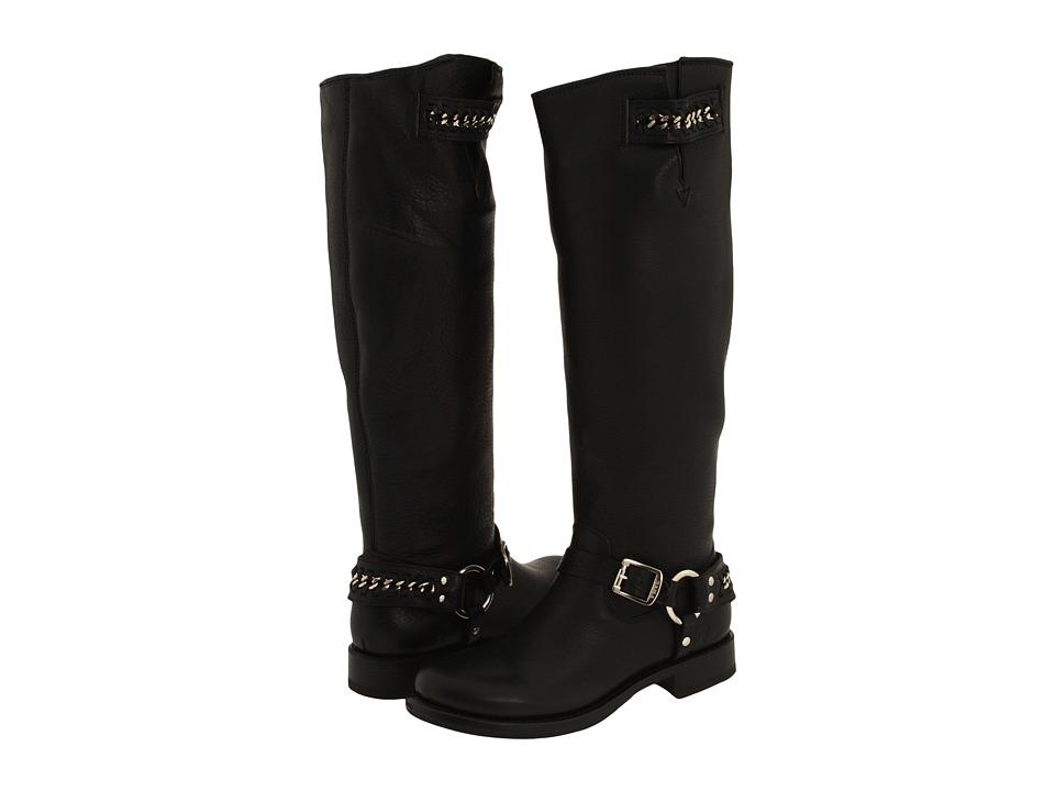 Frye - Jenna Chain Tall (Black Pebbled Leather) Women