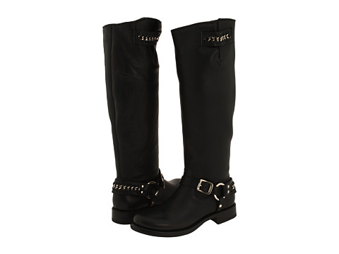 Frye - Jenna Chain Tall (Black Pebbled Leather) Women