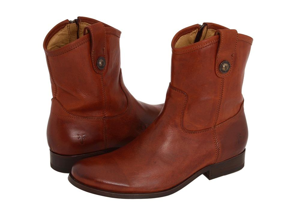 Frye - Melissa Button Short (Cognac Full Grain Leather) Cowboy Boots