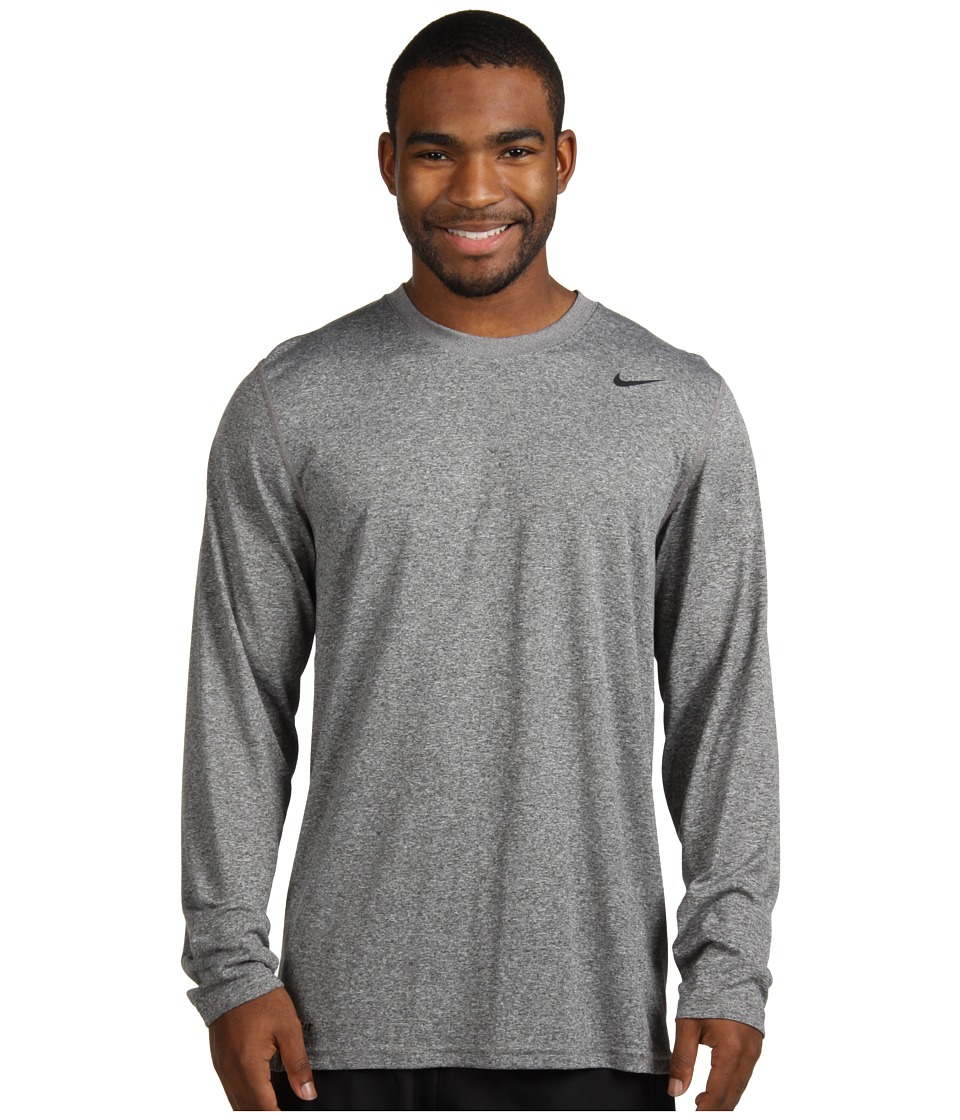 Nike - Legend Dri-FIT Poly L/S Crew Top (Carbon Heather) Men's Workout