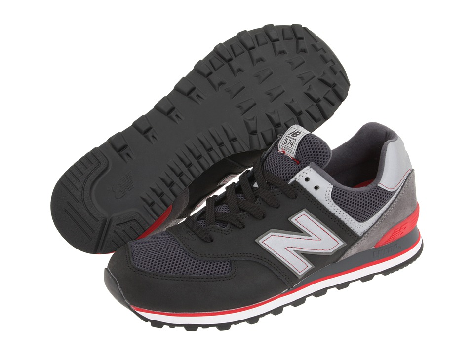 New Balance Classics - ML574 (Black/Grey/Red) Men's Shoes