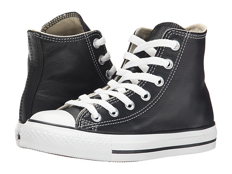 Converse - Chuck Taylor All Star Leather Hi (Black/White) Classic Shoes
