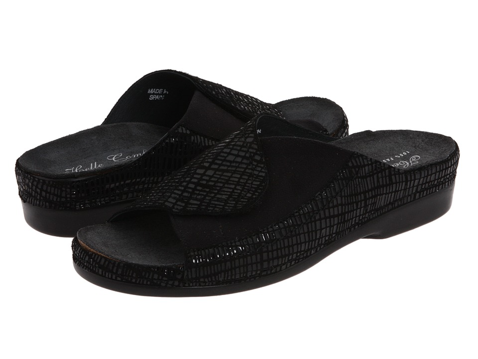 Helle Comfort - Tamra (Black Leather) Women's Slide Shoes