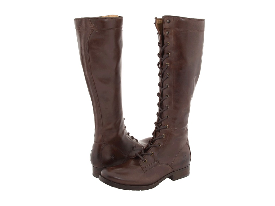 Frye - Melissa Tall Lace (Dark Brown Leather) Women's Lace-up Boots
