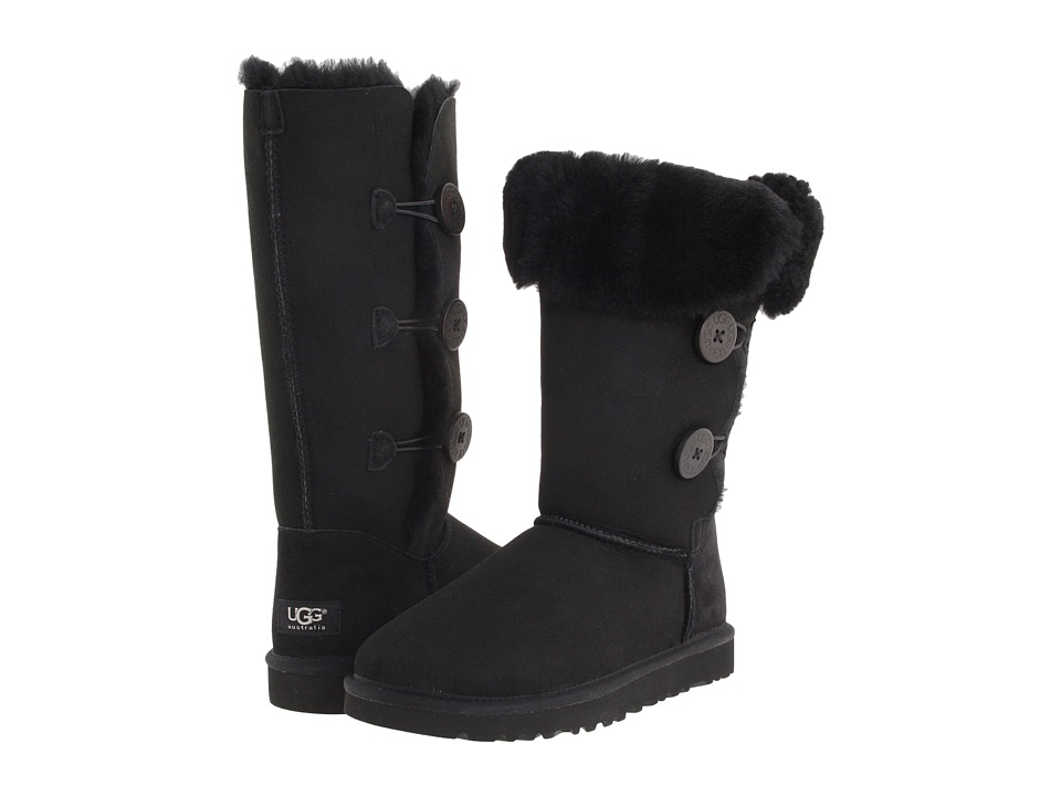 UGG - Bailey Button Triplet (Black Sheepskin) Women