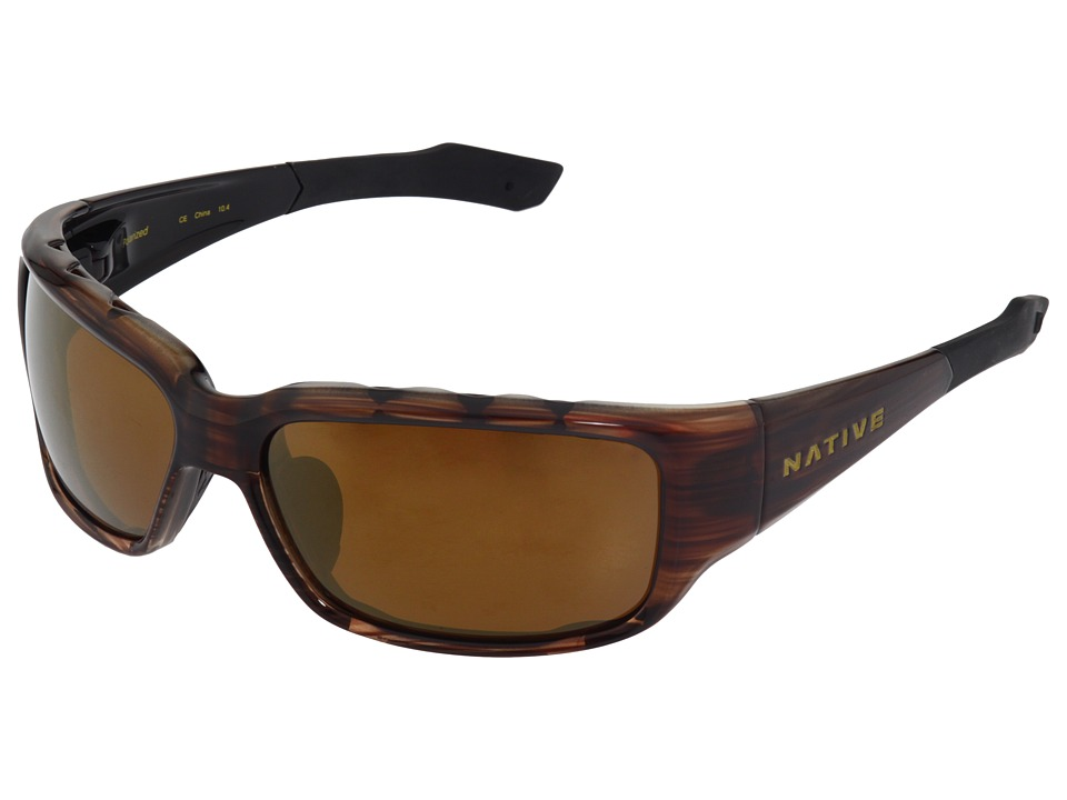 Native Eyewear Bolder Polarized (Wood/Bronze (Brown) Reflex Polarized Lens) Sport Sunglasses