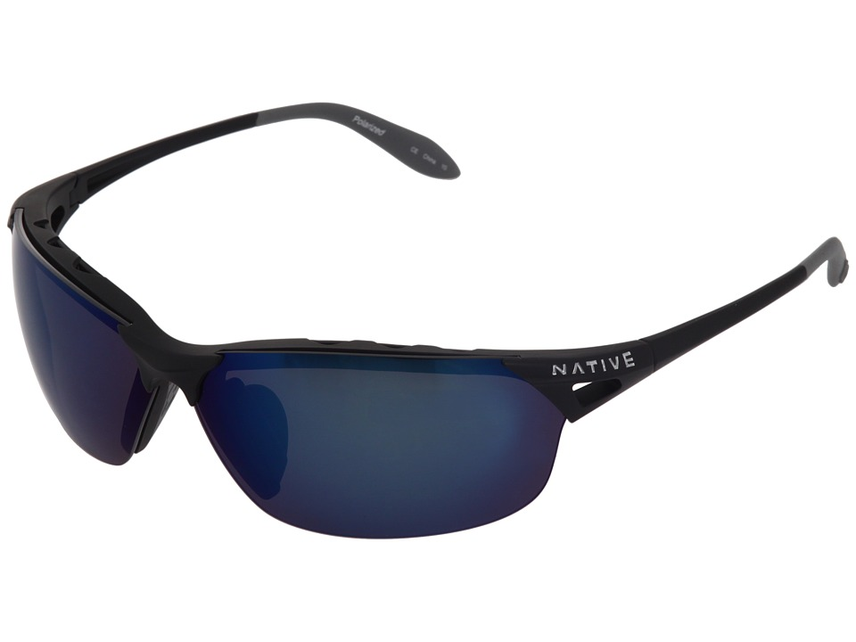 Native Eyewear - Vigor Polarized (Asphalt/Blue (Gray) Polarized Lens) Sport Sunglasses