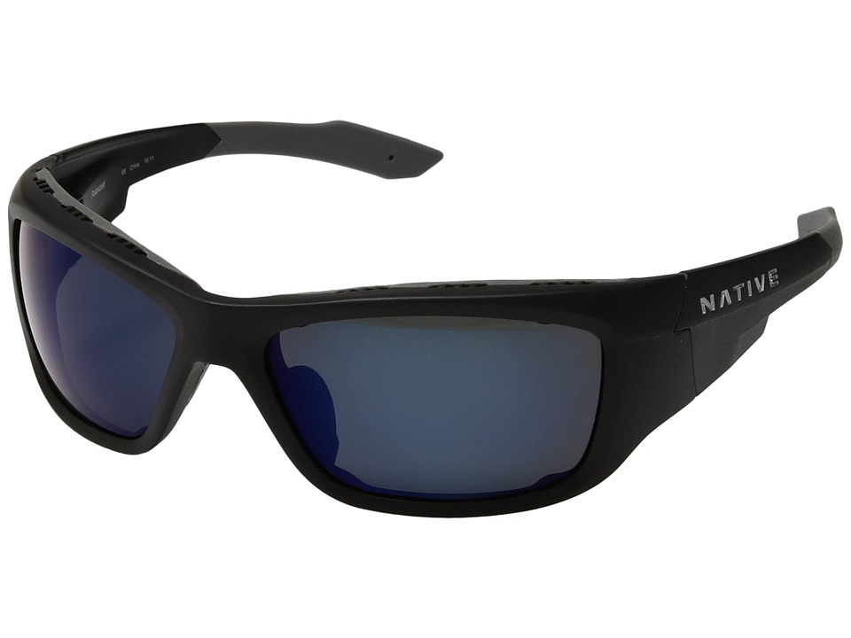Native Eyewear - Grind Polarized (Asphalt/Blue (Gray) Reflex Polarized Lens) Sport Sunglasses